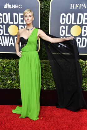 Charlize Theron on the Golden Globes 2020 red carpet
