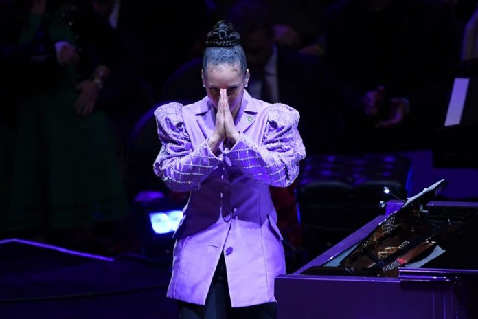 Alicia Keys at Kobe and Gianna Bryant's memorial service